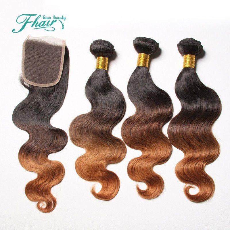 """Высокие продукты Ombre наращивание волос три тона коричневый 1B/4/30 Ombre малайзийский волна тела волос ткать 3 пучки 4x4""""закрытие с уток волос"""