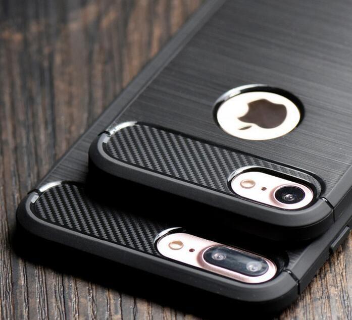 Custodia per armature morbide in fibra di carbonio in fibra di carbonio per iPhone X XS XR MAX 8 7 6 6S Plus Galaxy S9 S8 Plus Nota 9 8 S7 Cover Edge