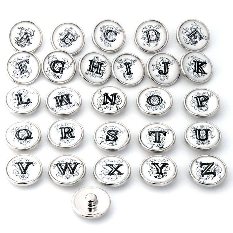 Noosa 빈티지 26 영어 편지 진저 스냅 보석 18mm 누사 청크 스냅 버튼 목걸이 팔찌 교환 할 수있는 보석 액세서리 z2
