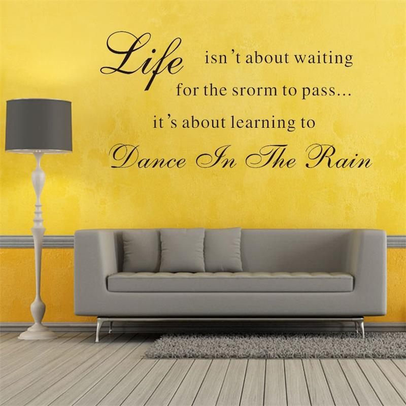 57x28cm English Motto Life Is About Learning To Dance In The Rain ...