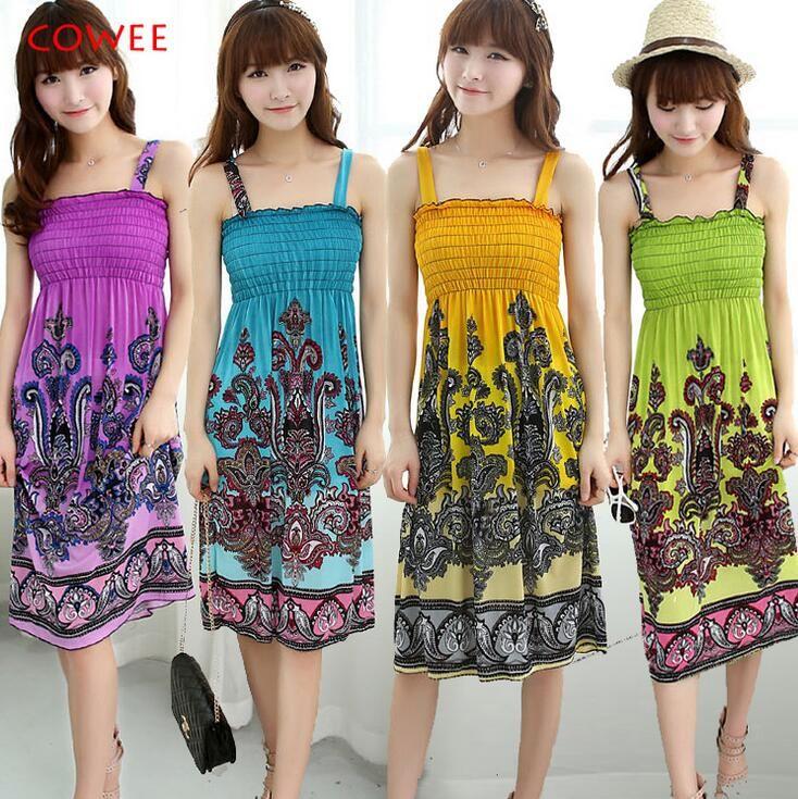 2016 лето новый секс рукава платья женщин Богемный стиль пляж платье слинг
