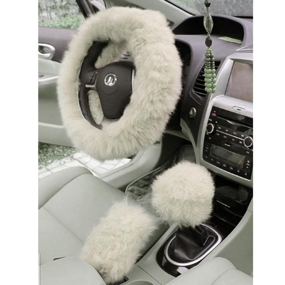 Charming Warm Winter Short Wool Plush Steering Wheel Cover for Car Accessories Brown