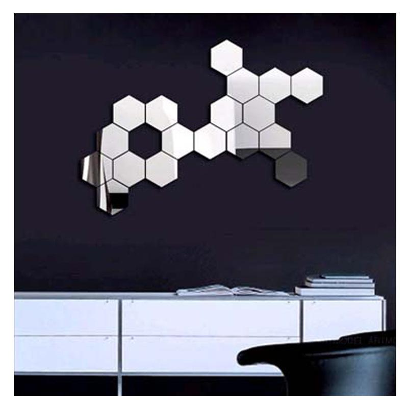3D Modern Mirror Geometric Hexagon Acrylic Wall Sticker Art DIY Mirrors  Wall Sticker Home Living Room Decoration Decal Decor Removable Wall Art  Decal ...