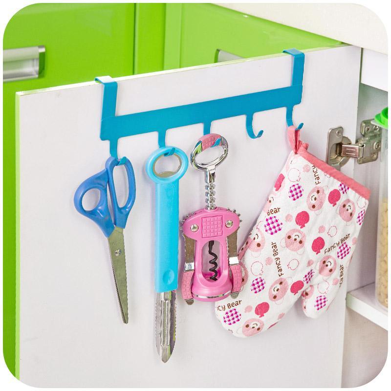 2018 5 Hooks Iron Over Door Rack For Kitchen Cabinet Cupboard Door