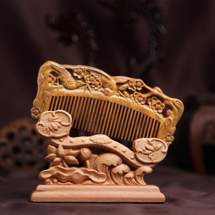 Genuine green sandalwood carving comb green plums magpie double comb health green small comb comb health massage comb