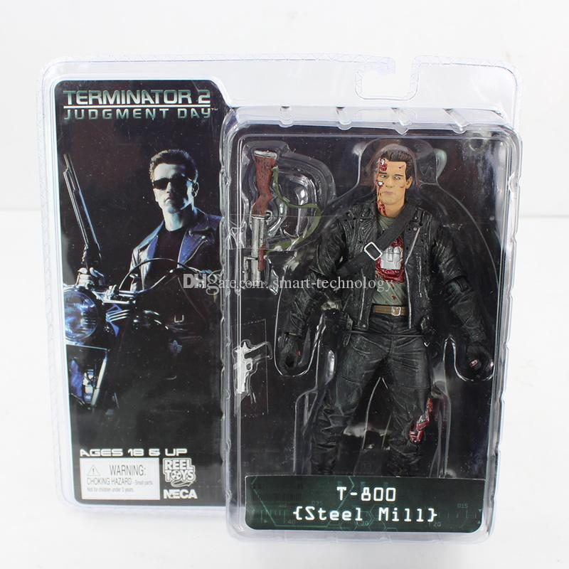 NECA The Terminator 2 T-800 Steel Mill Figure Action Figure Toy 18CM for boy's gift free shipping