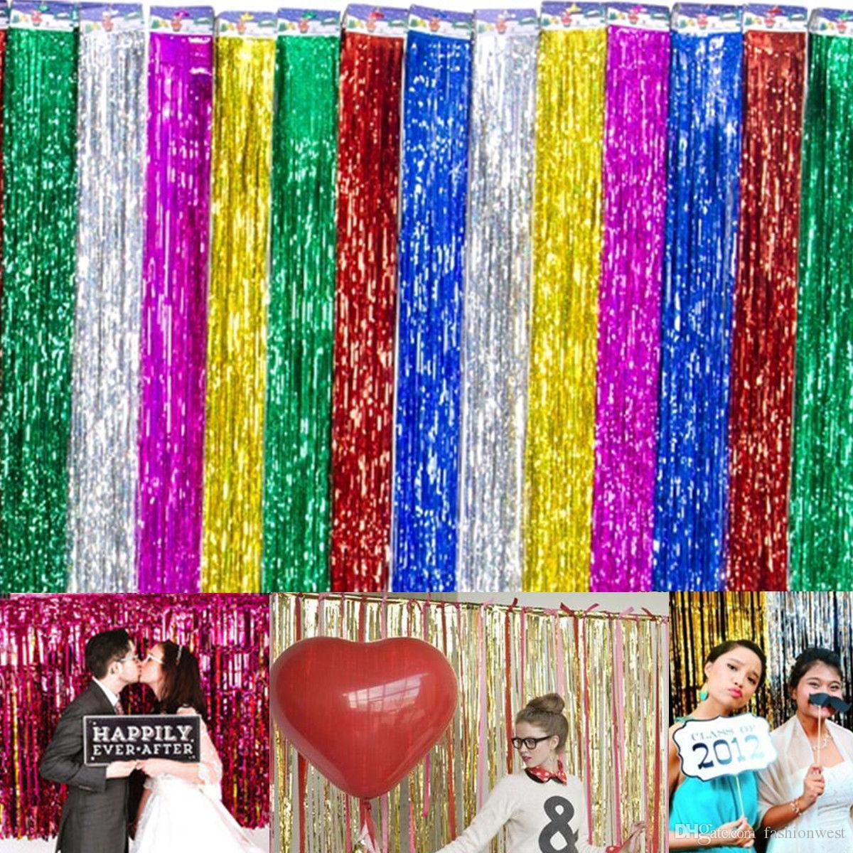 Decorazioni di nozze Sfondo di nozze Foil Party Tenda di porte Tinsel Shimmer Compleanno Decorazioni di nozze Forniture di nozze