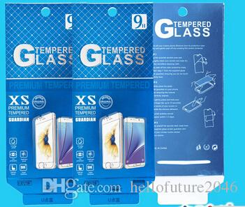 500pcs Blue Empty Retail Package Paper Packaging Box For iPhone 6 plus Tempered Glass Screen Protector