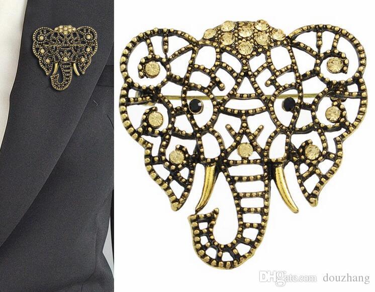 패션 개인화 된 보석 레트로 라인 석 중공 코끼리 머리 동물 브로치 핀 많이 12 PC를
