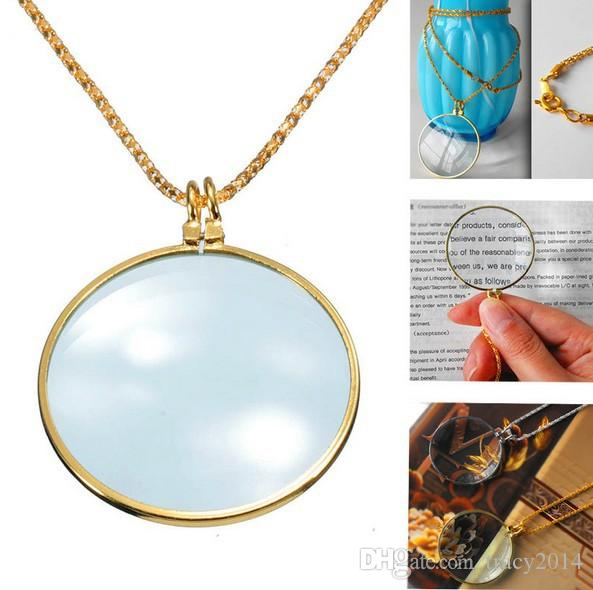 Brand New Decorative Monocle Necklace With 6x Magnifier Magnifying Glass Pendant silver plated gold plated necklaces Free Shipping