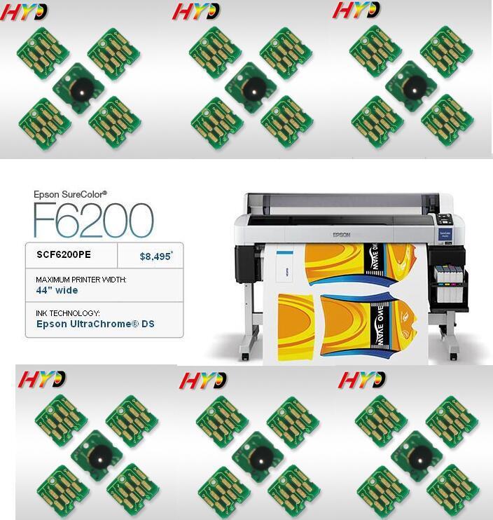 """DHL / FEDEX gratis: 16 piezas / lote, chip de cartucho de tinta de repuesto para Epson SureColor F6200 44 """"impresora de tono amplia T7411-T7412-T7413-T7414"""
