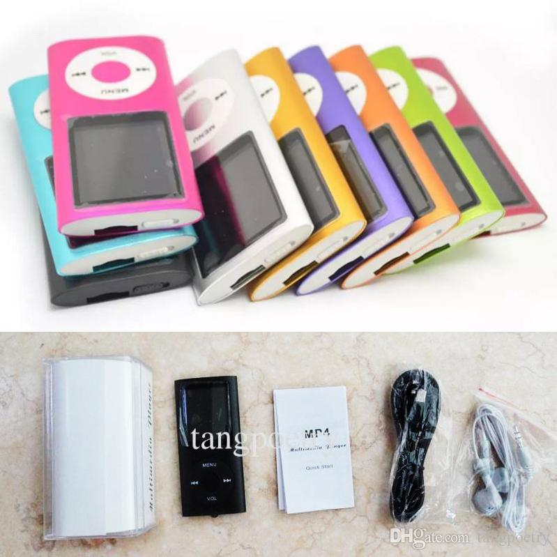 20X 1.8 inch Screen 4th mp3 mp4 Player with card slot FM radio Voice Recorder 9 colors USB Cables+Earphones+Crystal box Retail Boxes