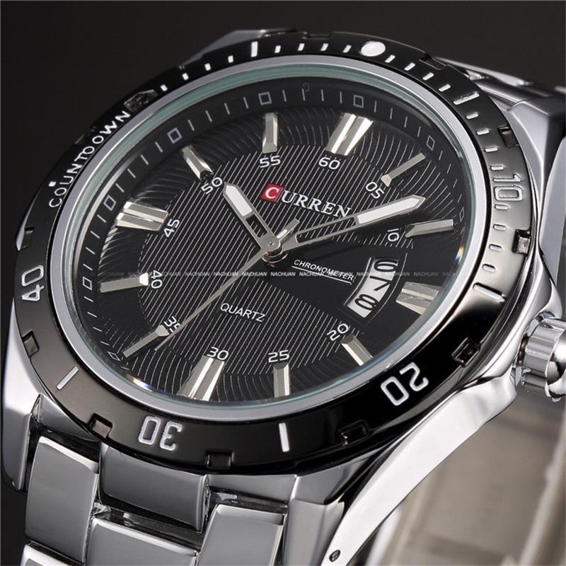 CURREN 8110 Banda de Metal dos homens de Negócios de Lazer Da Moda Relógio de Quartzo Relógio de Pulso QUENTE Vender Pulso Militar de Aço Completa Dial Relógios De Pulso