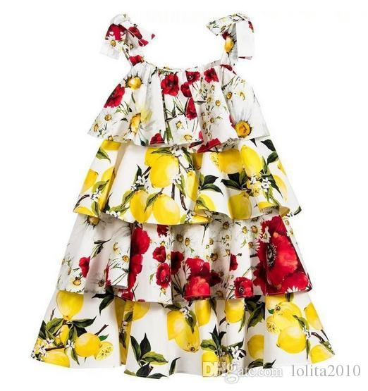 New 2016 Baby Girls print flower party Beach Dress Toddler Baby sleeveless cotton cake Dress Princess Party summer dresses children clothing
