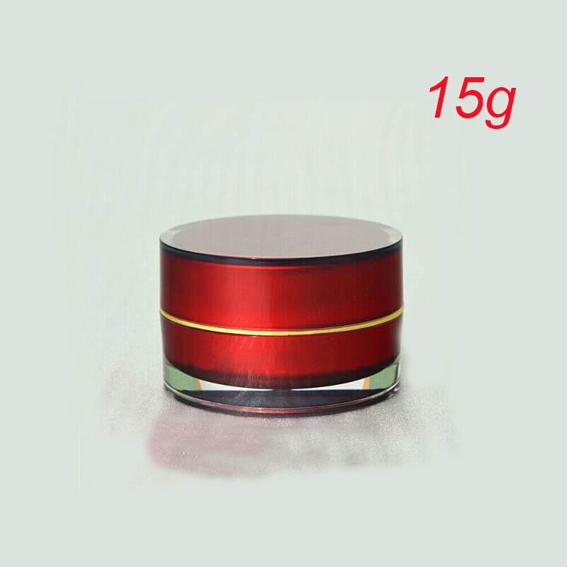 15g ACRYLIC cylindre forme pot de crème rouge, rouge 15g pot cosmétique, plastique 15g rond emballage cosmétique en gros