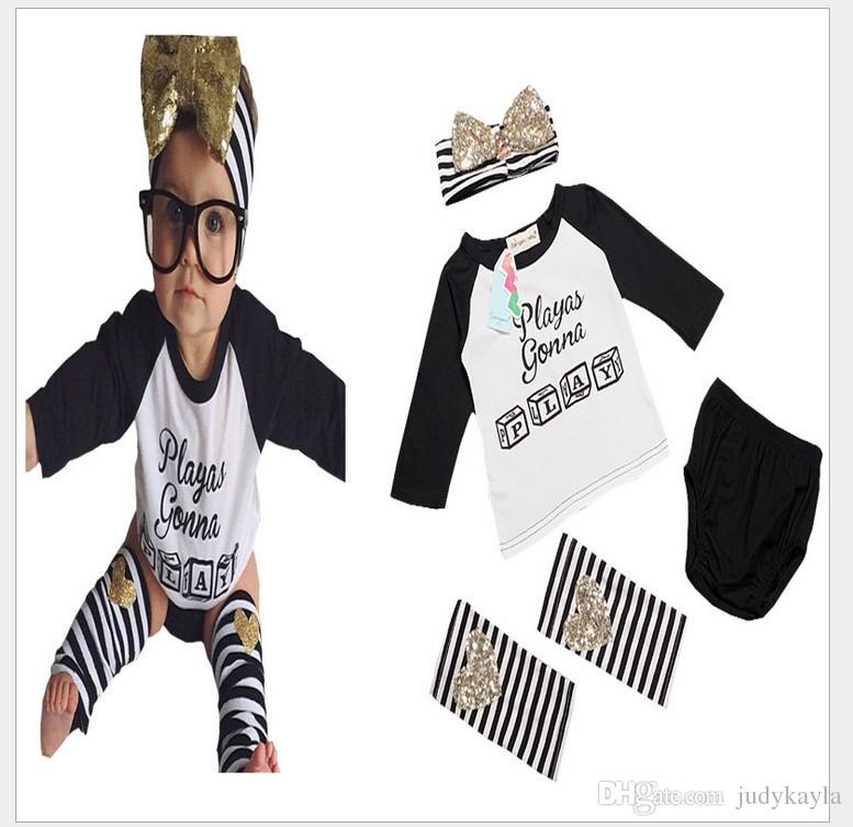 4 STKS SET 2016 Nieuwe Herfst Baby Meisjes Letters Gedrukt Lange Mouw T-shirt Tops + Shorts + Gestreepte Beenwarmers + Hoofdband Kids Past Girl Outfits