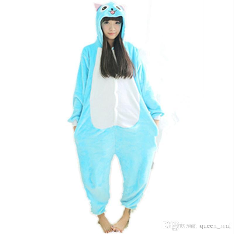 Fleece Anime Fada Cauda Feliz Gato Onesie Crianças Dos Desenhos Animados partido traje Cosplay mulheres Pijama adulto Azul Macacão Gato Macacão Onesies Com Capuz