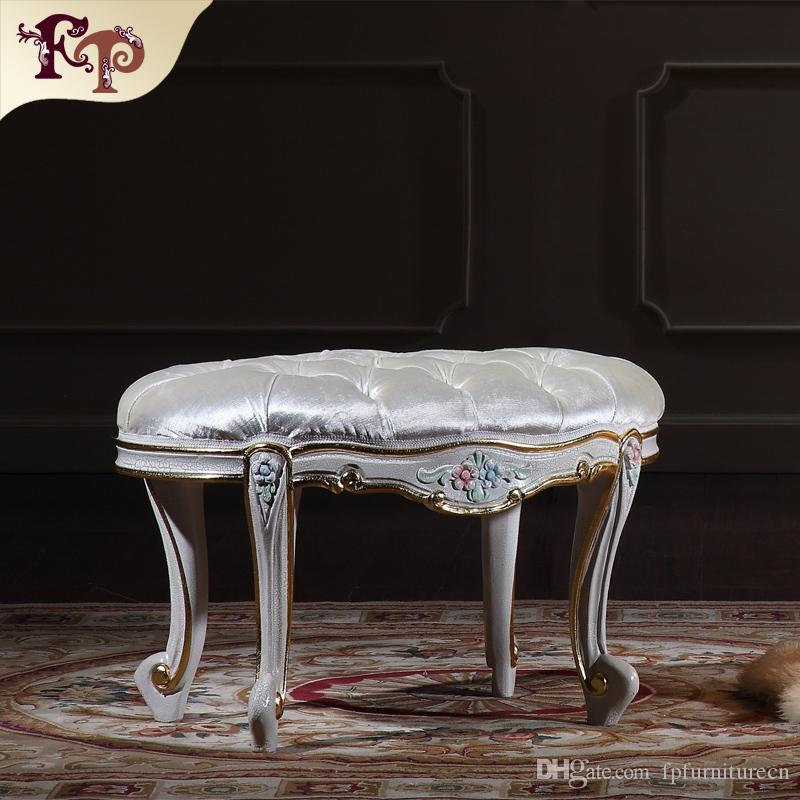 2020 European Rococo Furniture High End Classic Bedroom Foot Stool