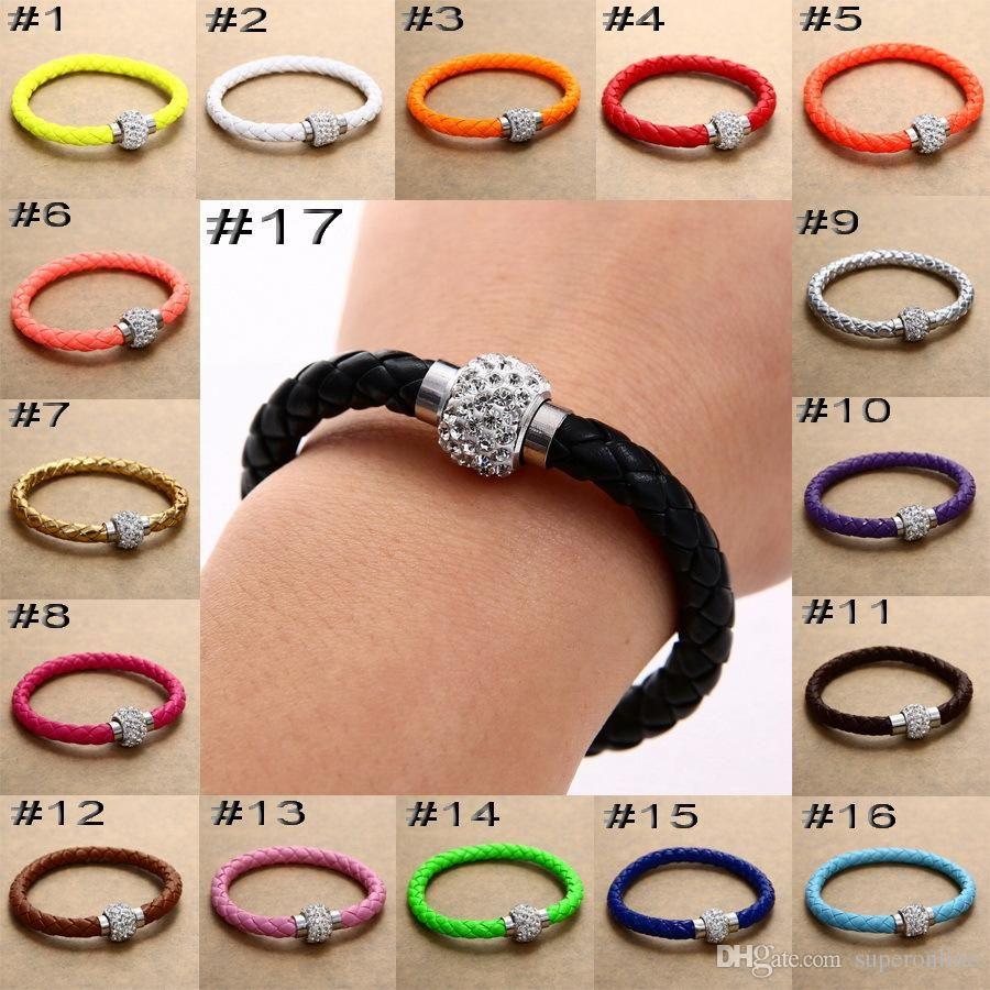 Женщины браслет магнитная пряжка защелкивающиеся браслеты из натуральной кожи горный хрусталь высокие украшения 2021 17 цвета с хорошей ценой