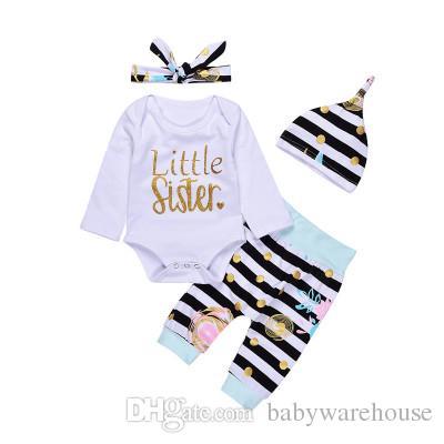 New Arrival Baby Girls Clothing Set Little Sister Long Sleeve Romper + Striped Pants + Hat + Headband 4Pcs Girls Set Newborn Baby Clothes