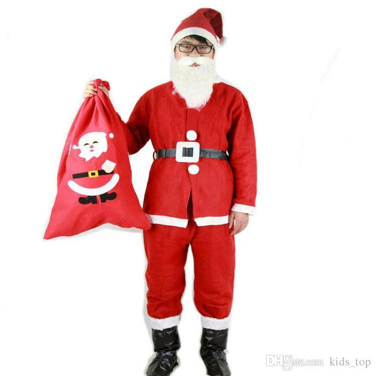 XMAS traje adulto Natal roupas de Papai Noel Terno Cosplay roupas de Natal (5pcs em um terno conjunto)