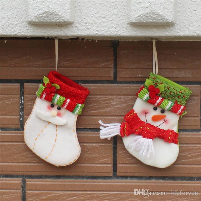 calza natalizia Calze per i regali di Natale Borse Calze natalizie Natale oranments piccolo cartone animato decorazione natalizia oggetti di scena natalizi