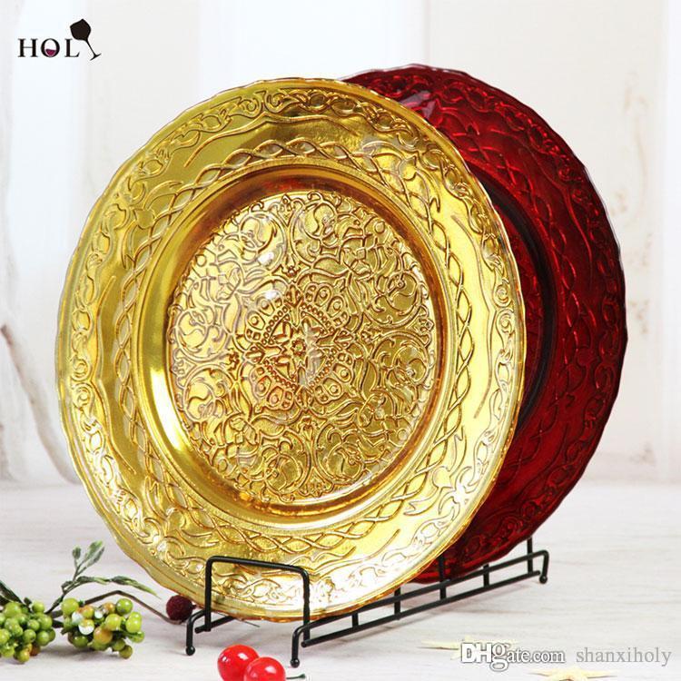 Günstige Hochzeit Veranstaltungen Gold Glas Ladegerät Platte Großhandel