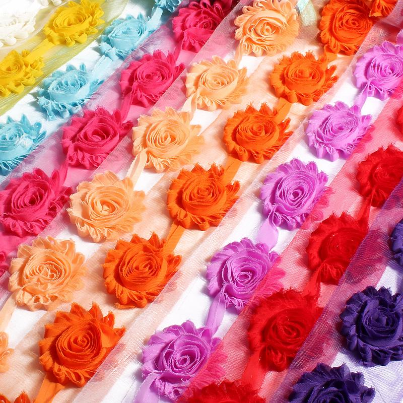 """10yards /Lot 2 .6 """"15colors Fashion Chic Shabby Chiffon Flowers For Children Hair Accessories 3d Fabric Flowers For Headbands"""