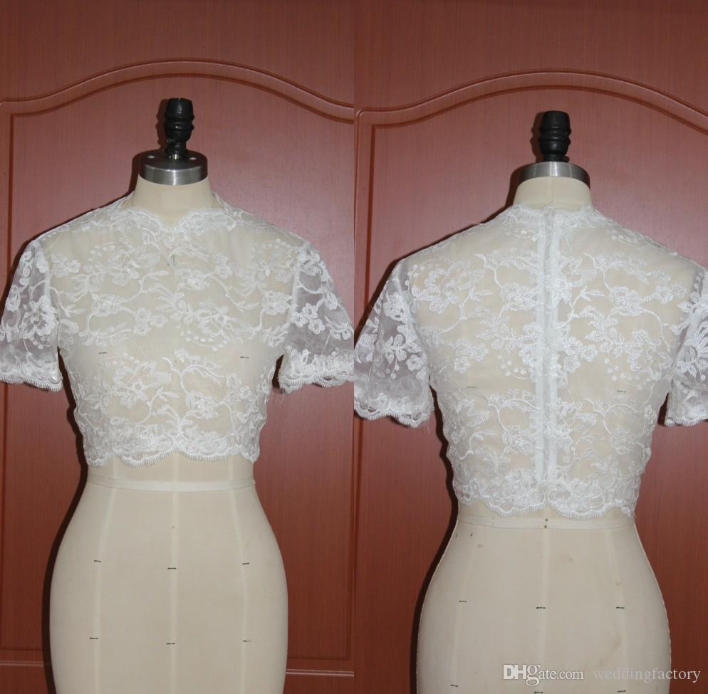 Sheer Jewel Neck Short Sleeves Lace Bolero Jacket Wedding Party Accessories Lace Appliques Mini Wrap Over Coat Custom Made