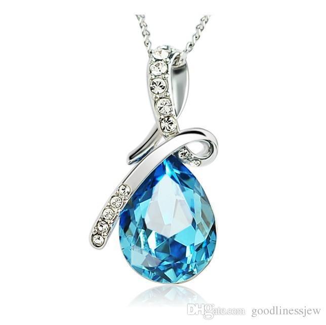 Collane con ciondolo a cuore di ametista con gemma di cristallo blu placcato argento sterling 925