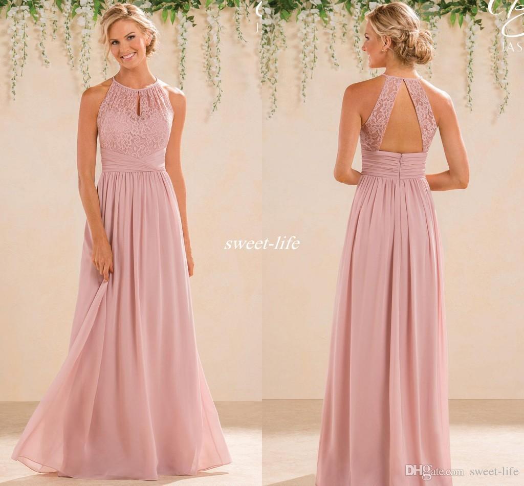 2019 Cheap A Line Lace Chiffon Bridesmaid Dresses A Line High Neck Backless Long Summer Beach Garden Wedding Guest Evening Party Gowns Peach