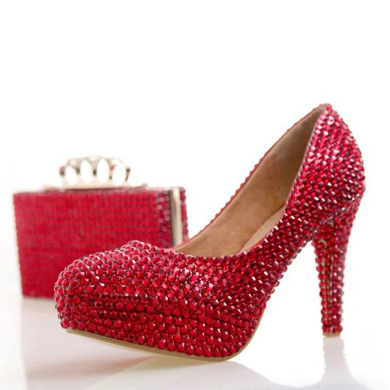 Moda Rhinestone Shoes High Shoes Color Red Color con sacchetto di abbinamento Scarpe da sposa Party Cinderella Pompe da sposa Pompe da sposa Scarpe da sposa