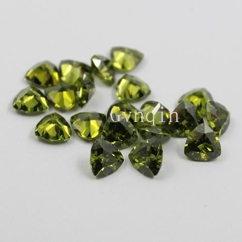 100pcs/lot free shipping 3x3mm-8x8mm cubic zirconia peridot trillion loose gem stones
