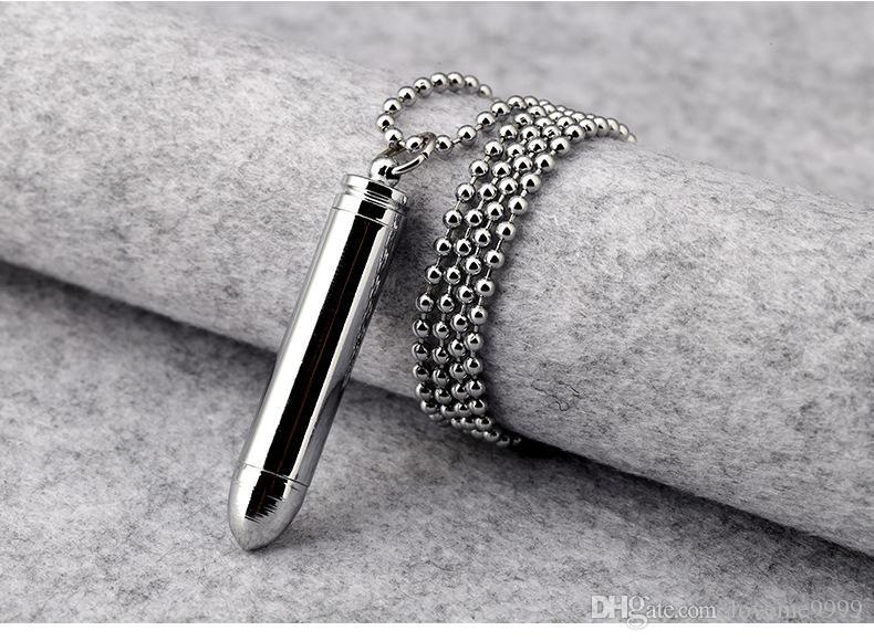 Мода рэппер рок хип-хоп мужские из нержавеющей стали открываемые пуля пепел урна Pet подвески ожерелья ювелирные изделия