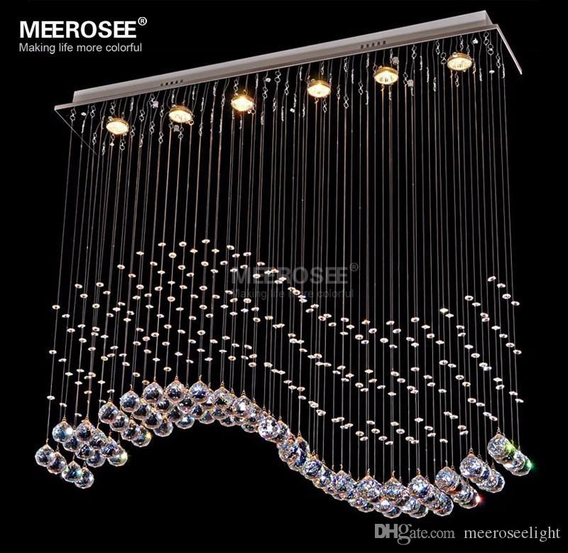 Modern Rectangle Crystal Chandelier Lustre Light Fixture Crystal Curtain Wave Lamp for Ceiling Dining Room Prompt Shipping 100% Guanrantee