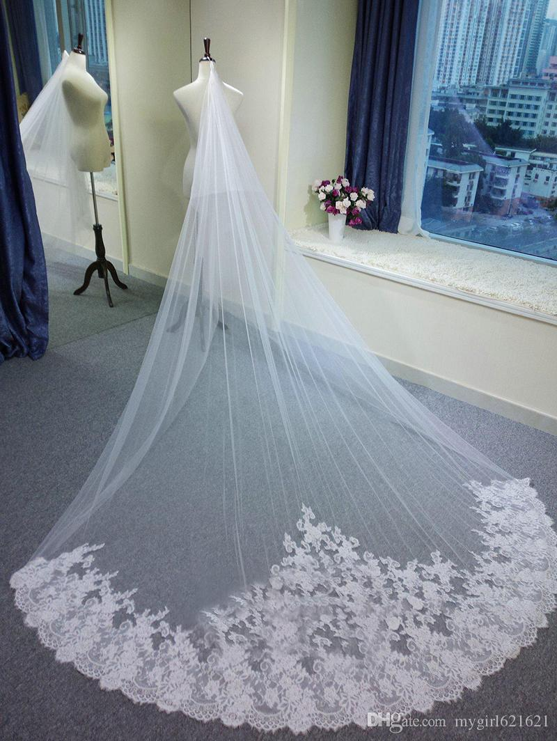 2016 Real Picture 3 Meter Long Wedding Veils Bridal Cathedral Veils ...