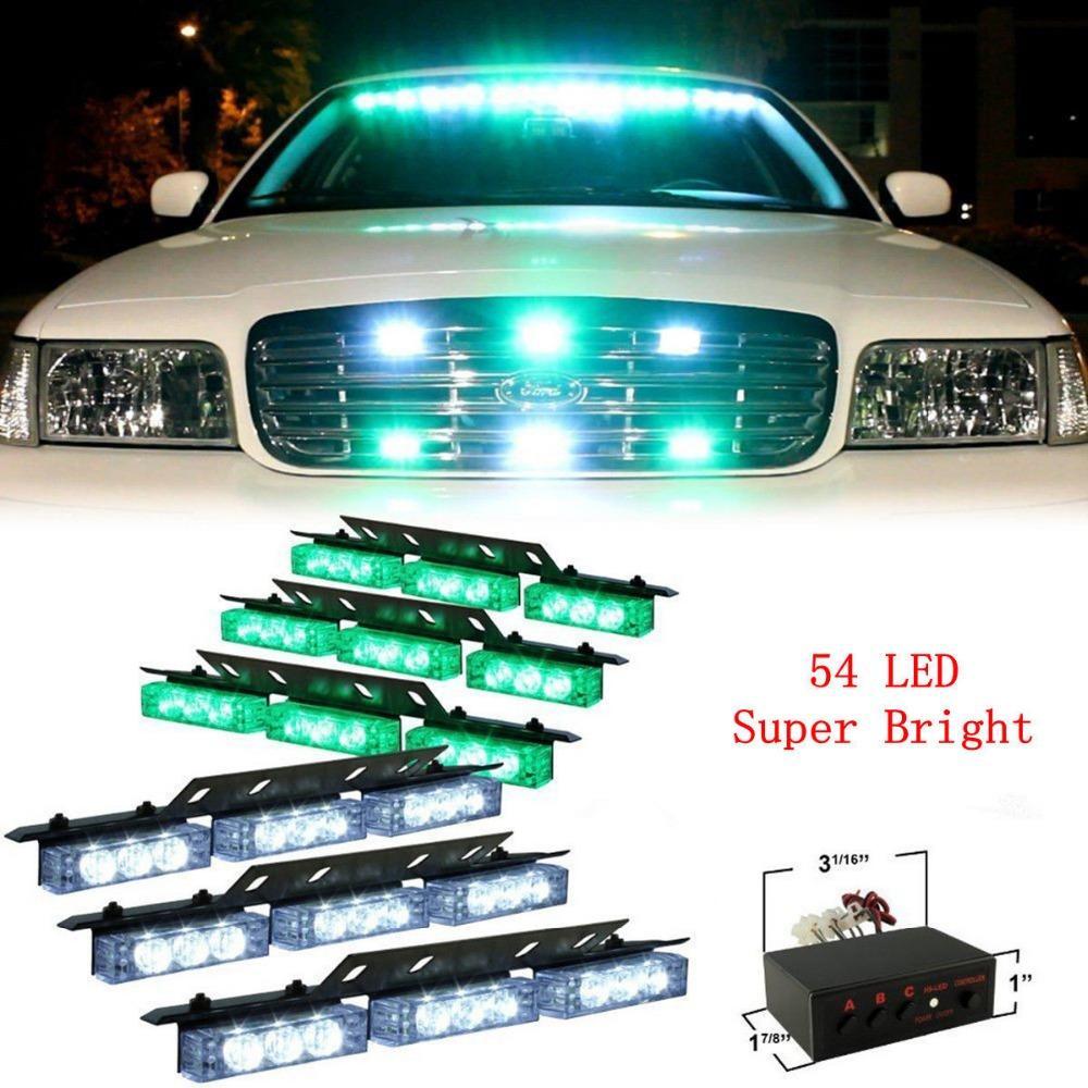 54 LED Vehículos de destello de emergencia Luces estroboscópicas Cubierta Parrilla de tablero de instrumentos Lámpara verde Blanco