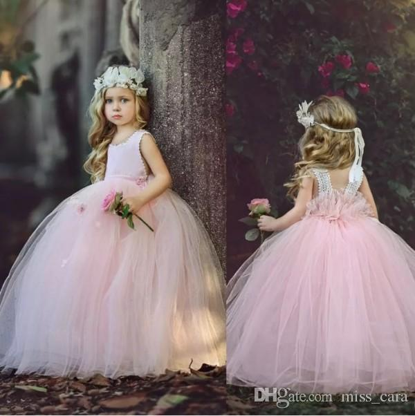 Cute Pink Flower Girl Dresses Tulle Appliques Floor Length Ball Gown Little Kids Prom Wear Communion Gows