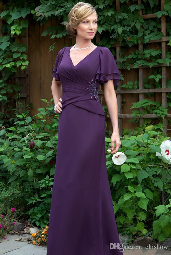 2017 Cheap New Elegant Purple Sexy V Neck Mother Of The Bride ...