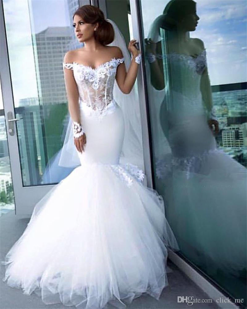 Off The Shoulder Mermaid Wedding Dresses Sheer Bodice Lace Appliques Tulle Sexy Bridal Dress Exposed Boning Vintage Wedding Gowns Satin Mermaid