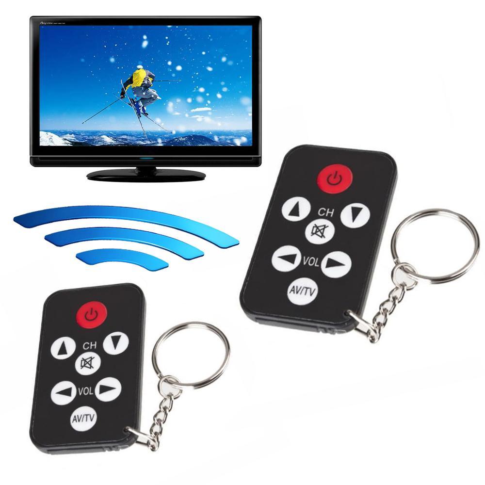 휴대용 유니버설 적외선 IR 미니 TV 세트 무선 원격 스마트 제어 컨트롤러 키 체인 키 링 7 키 버튼 블랙