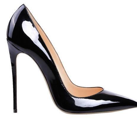 2017 frauen Schwarz Schaffell Nude Lackleder Poined Toe Damen Pumps, 120mm Mode lRed Bottom High Heels Schuhe für Frauen Hochzeit schuhe