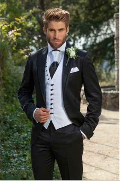 Custom Made Groom Tuxedos Black Best Man Groomsman Peak Lapel Men Boda / Cena / Trajes de baile para el novio (chaqueta + pantalón + corbata + chaleco)