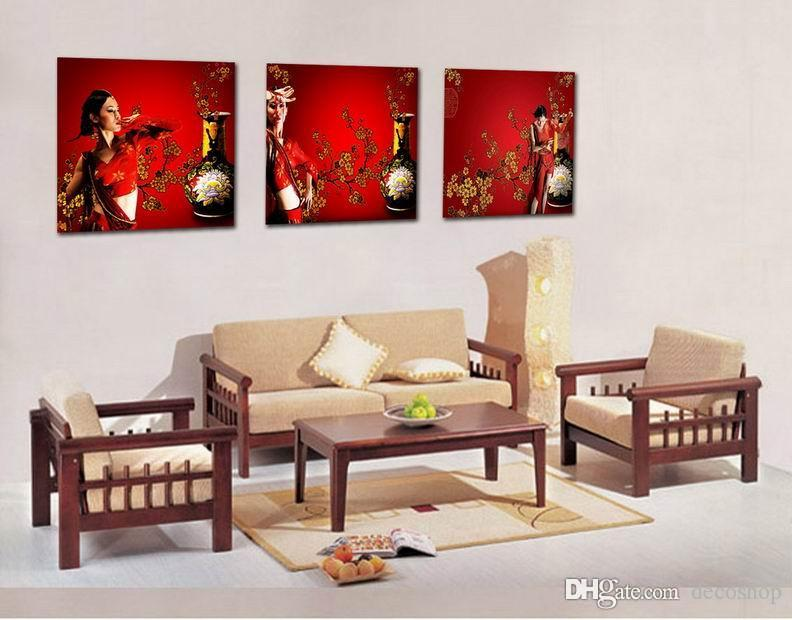 Flor De Ameixa Wintersweet Flor Pintura Giclee Impressão Na Lona Home Decor Wall Art Set30257