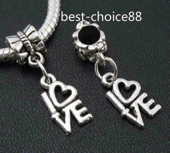 100 PCS Tibétain Argent lettre Amour Charmes Pendentif Dangle Perles Fit Européenne Bracelet 25mm