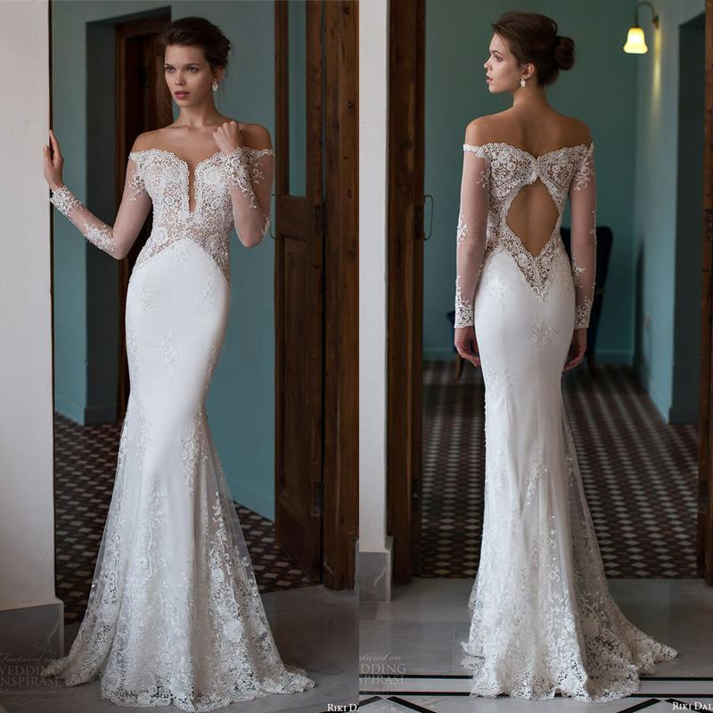 Riki Dalal 2016 New Arrival Off Shoulder Sheer Neck Illusion Long Sleeves Mermaid Wedding Dresses Sexy Cut Out Back Lace Bridal Gown En61711 Gown