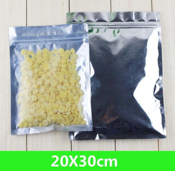 """새로운 20 * 30cm (7.9 * 11.8 """") 알루미늄 호일 / 클리어 recealable 밸브 지퍼 플라스틱 소매 패키지 팩 가방 지퍼 잠금 가방 소매 포장"""