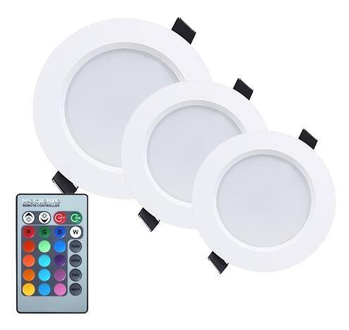 3W 5W 10W RGB LED Downlight AC85-265V تغيير اللون لوحة ضوء لوحة مصباح كهربائي مع جهاز التحكم عن بعد للأضواء جدار الرواق