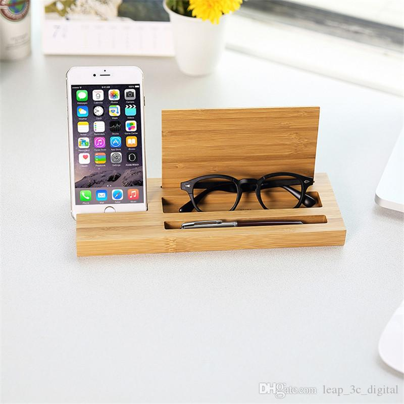 2019 Multifunction Storage Stand Phone Holder Wooden Bracket For Iphone Android Phone Pen Glasses Stander Simple Exquisite Design Holder From