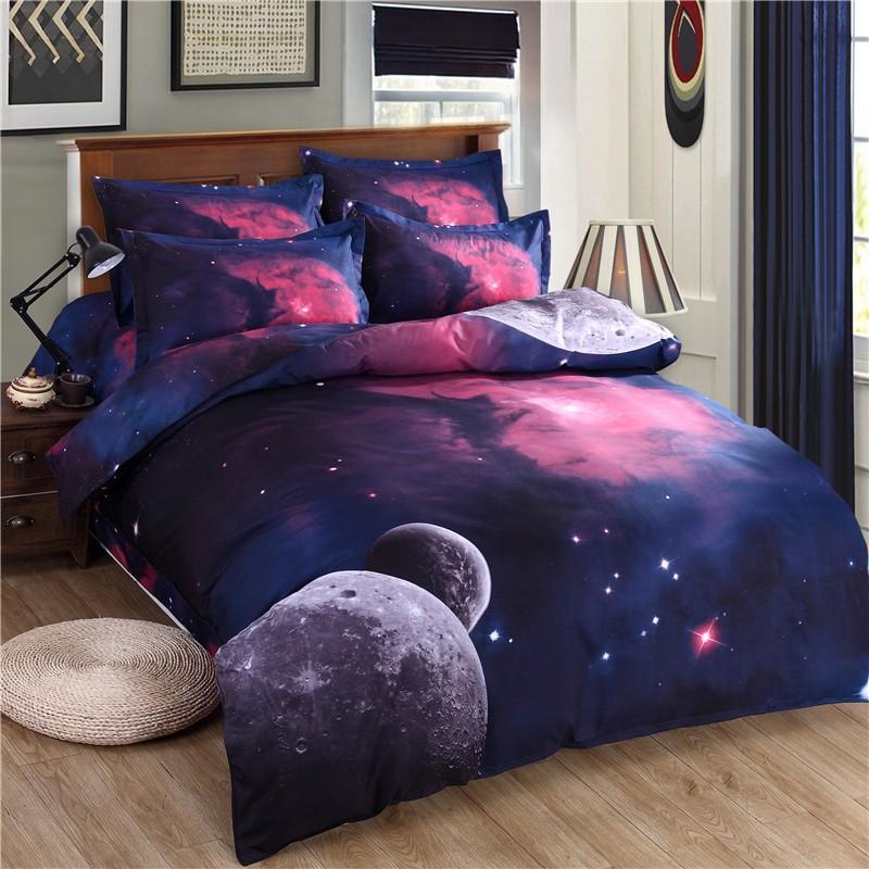 3D Galaxy Biancheria da letto Set Doppia / Queen Size Universo Spazio esterno Spazio a tema Copriletto 3pcs / 4pcs Biancheria da letto Le lenzuola Duble Cover Set
